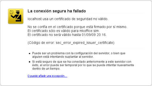 Advertencia SSL